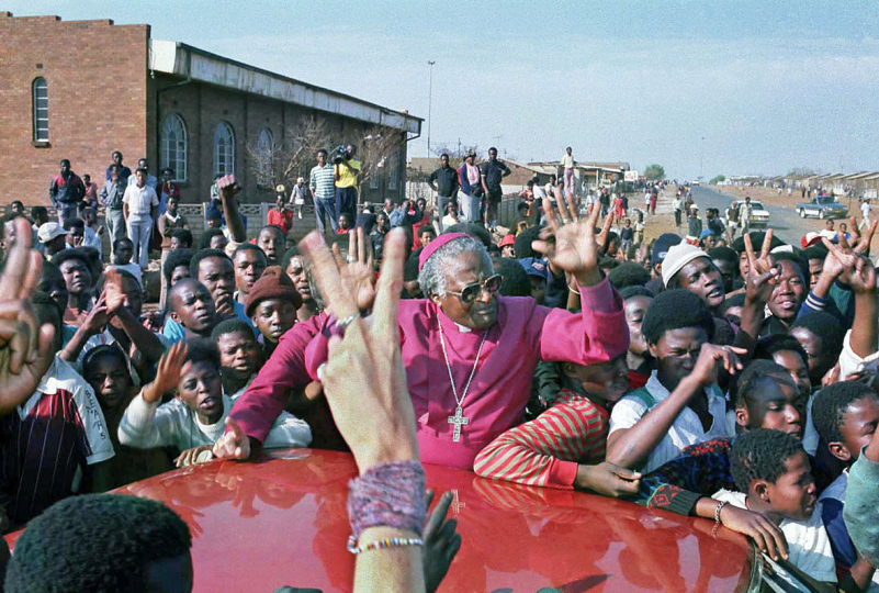 South Africa, Sebokeng Township, Johannesburg. 1990. Archbishop Desmond Tutu appeals for peace in the violence-torn township.