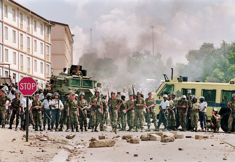 South Africa, Alexandra Township, Johannesburg. 1992. Police and residents of Alexandra township clash.