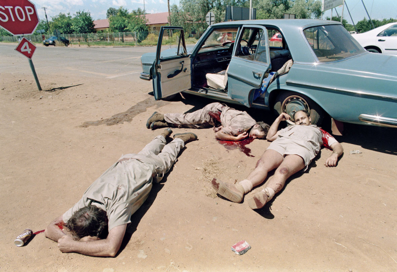 South Africa, Mmabatho,1994: Three AWB - Afrikaner Weerstandsbeweging men were shot dead by a homeland soldier, during an attempted coup.
