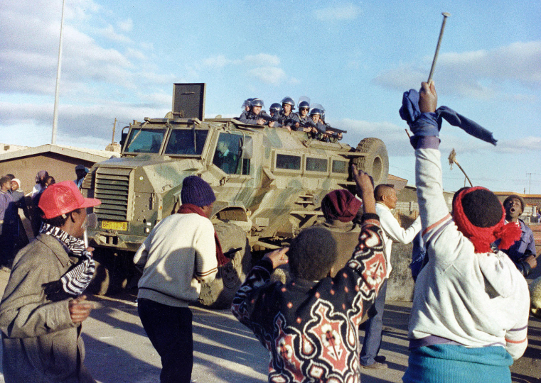 South Africa,  Daveyton Township.1990. Residents protest against the presence of police in the township.