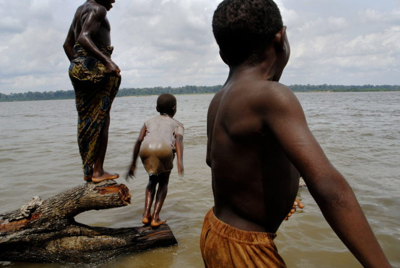 Republic of Congo, 27 May 2009: Children from Moscow village play in the Bangui River.