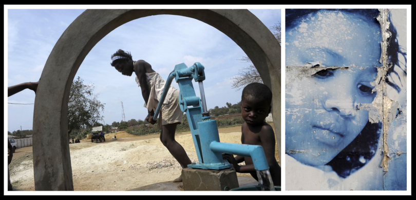 A young girl draws water at the town pump to to cater for her family's domestic needs. Ambovombevillage. Southern Madagascar.