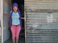 """Ritchie, South Africa. 2014. Samantha Vos (17) left school in grade 9. """"I got pregnant and now I just stay here in my shack. I wont go back to school and I can't find work, so I must live off my government child grant."""""""