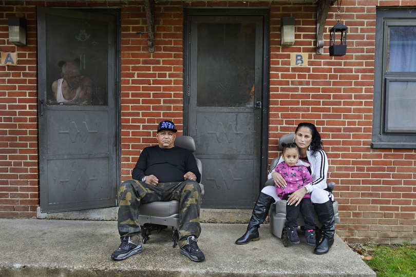 Lazaro and Ruth Rodriquez with their child Alexandria, Hall Manor.