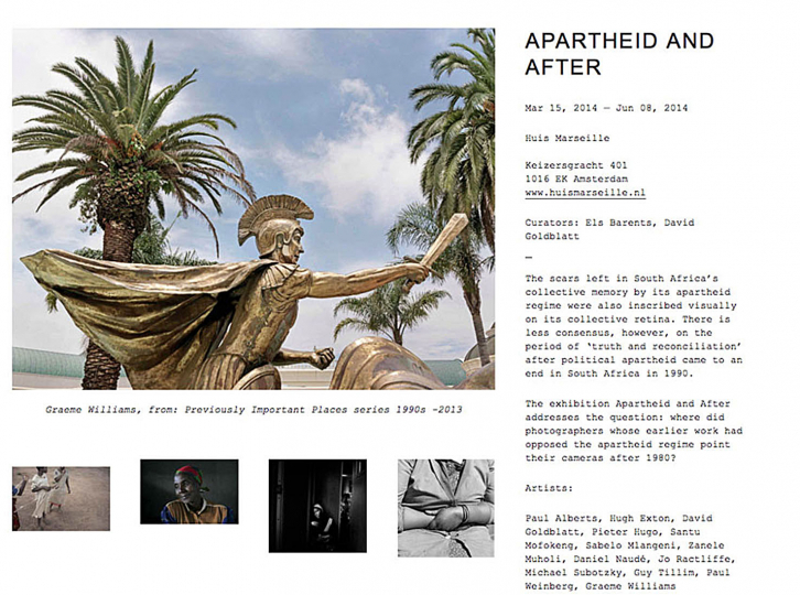 Over Time series included in the Huis Marseille's Apartheid and After  exhibition - Contemporary South African Photography. 2014.