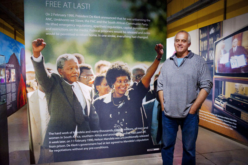 My image of Nelson Mandela being released from prison, is added to the permanent exhibition at the Apartheid Museum. Johannesburg.