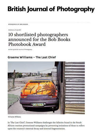 The Last Chief photobook is shortlisted in the UK -based international competition, Bob's Books. 2017.