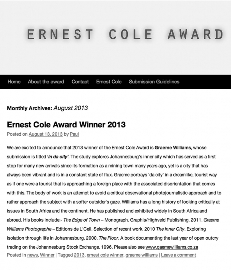 Winner of the Ernest Cole Award in 2013 for the essay,  A city refracted.