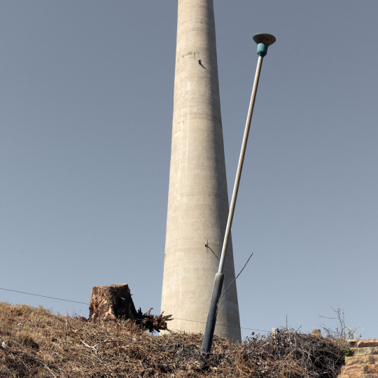 A falling lighting pole. Johannesburg. 2014.