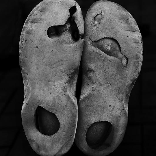 Homeless person, Bongi's shoes. Johannesburg. 2018.