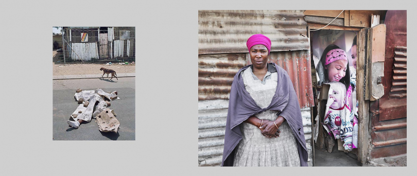 Alexandra, Johannesburg. Left 1992. The body of a man is covered by newspapers after being found in the road after a night of violence between supporters of the ANC (African National Congress) and members of the IFP (Inkatha Freedom Party), living in the nearby hostel. Right: 2013. Bachazile Ximba, now 64 years old, still lives in a shack near the site of the earlier killing. She remembers seeing the body, but says that since that time crime has become the major problem in the area. Last year a body was dumped outside her shack. She says that the criminals removed the victim's teeth and eyes, in order to avoid identification.