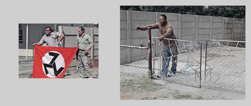 Welkom. A large percentage of AWB members were recruited from the poorer sections of small town, urban, white communities. In the post apartheid era, the same areas became the first to be racially integrated due to the affordable property prices. These images were made in the same suburb of Welkom.Left: 1990. AWB members line the route of a right-wing march through the suburbs of the conservative, mining town. Right: 2012. Lenka Lenka is the owner of a home in a previously whites-only suburb. When I showed him the old photograph he said, 'Those guys are very quiet now. Some of my neighbors are white and we get along fine.'