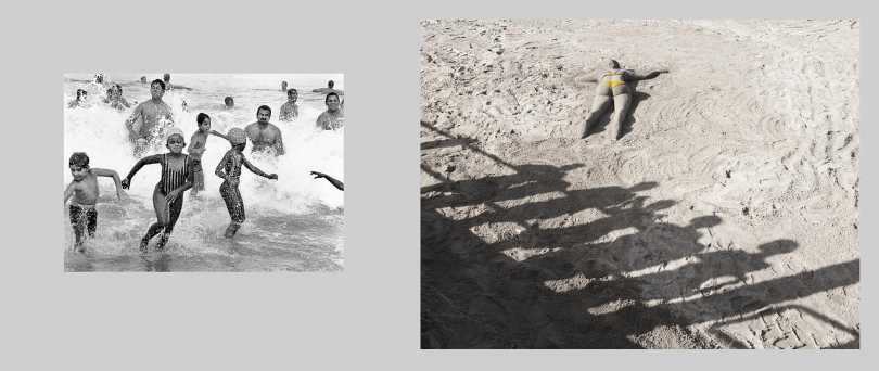 Durban. North beach.Left: 1989. All races are allowed to swim together for the first time in Durban as the race laws are finally lifted.  Right: 2012. Young girls from a nearby township look down at a sand sculpture depicting a sunbathing woman.