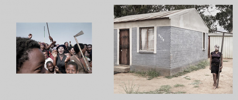 Phola Park, east of Johannesburg. This informal settlement in the early nineties was an easy target for attack by hostel dwellers, due to the high density of shacks and the absence of established community structures.  Left: 1990. Residents of the informal settlement gather with weapons as they prepare to march on the nearby hostel. The ANC-supporting settlement was attacked the previous night by Inkatha members from the hostel. Right: 2012. State-built RDP houses have replaced the haphazard shack settlement.