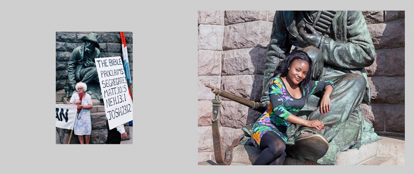 Pretoria.Left: 1990. Right-wing protesters gather in Church Square to voice their anger at the steps taken by F W de Klerk's government to dismantle apartheid. Right: 2013. Felicia Shimoshili poses for a local portrait photographer at the foot of a bronze statue of a Boer soldier. Church Square is dominated by a plinth containing a statue of Boer leader Paul Kruger surrounded by four anonymous Boer citizen-soldiers. The square is a popular meeting place for black Pretoria residents. There are generally between 10 and 20 portrait photographers offering their services and the Boer statues have become one of the most chosen backdrops.  In the late 1990s there were complaints from Afrikaners that the statues were being neglected by the ANC-run municipality, however now, because of frequent usage, the green bronze surfaces have been polished to a golden brown.