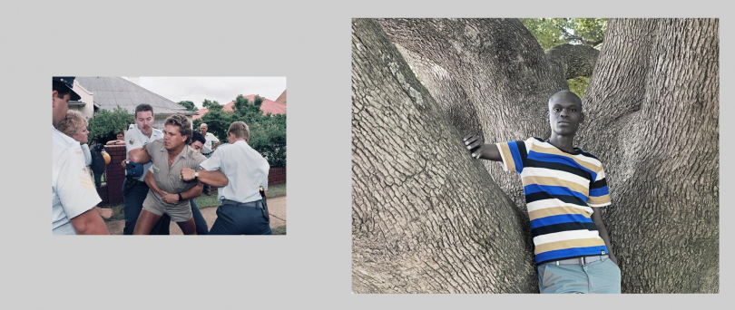 Pretoria.Left: 1991. Farmers clash with police as they protest against the impact that political transformation will have on the white farming community.Right: 2012. Pretoria University student, Zain Shiba, leans on a tree directly opposite the site where the earlier picture was taken. He is studying Social Work in the hope of helping other people in his community.