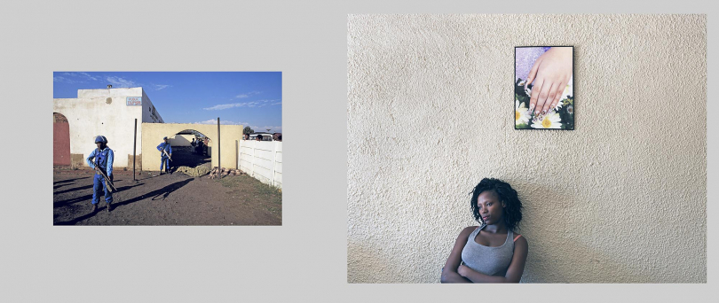 Katlehong. The tavern photographed in the original image has been renovated into a modern, mini-shopping centre.Left: 1994. Members of the National Peacekeeping Force stand guard over the bodies of three young men who were shot dead outside a tavern. Right: 2012. Manicurist, Nombuso Ntuli, waits for customers at the Chosen Beauty Salon. She is a tenant at the mini-shopping centre, but has no knowledge of what had occurred at this site 18 years earlier.