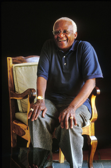 Archbishop  Tutu at his home in Soweto, South Africa. 1997.