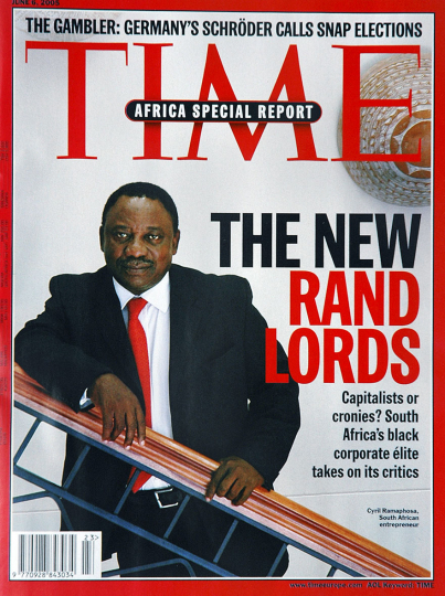 Time Magazine cover. Cyril Ramaphosa is a South African entrepreneur and an African National Congress leader. 2005.