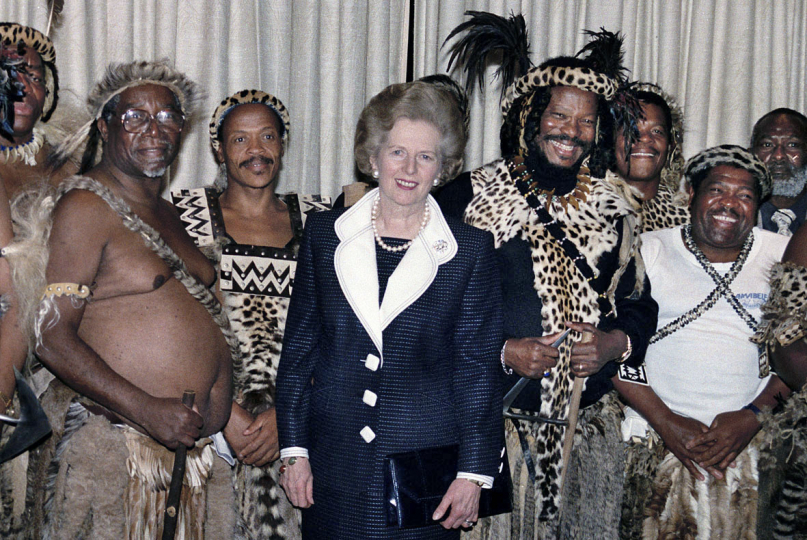 South Africa, Kwa Zulu Natal, 1991:  Former British Prime Minister, Margaret Thatcher, with the Zulu leadership in Ulundi. Mrs Thatcher showed her support for Chief Buthalezi, the leader of the Inkatha Freedom Party (IFP).