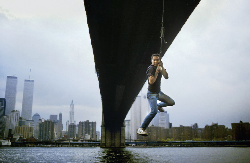 Swinging under Manhatten Bridge. New York. 1988.