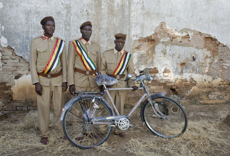 Mozambique, Tete Province, Village: Changara, 5 April 2010: Regula Portraits ( Commuity Leader Portraits) Community leaders are given bicycles in recognition of their efforts to improve the sanitary conditions in their communities and to achieve the status of Open Defecation Free (ODF). Community leaders, (From L to R), Bulacho Saniconde (Tete Province), Elija Tique (Sofala Province) and Eilande Elelane (Tete Province).