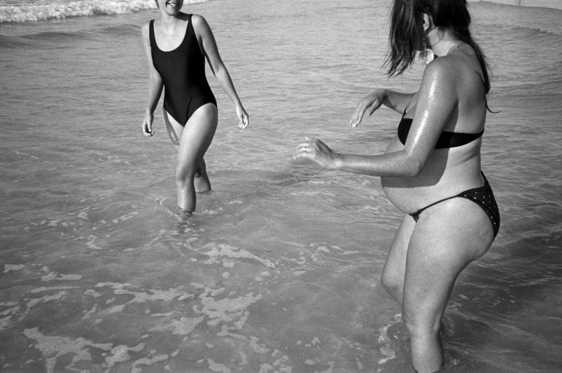 Frances and nine-month pregnant Nia at Kommetjie beach, Cape Town, South Africa. 1991