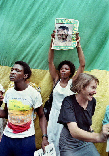 South Africa, Johannesburg. 1990. Celebrations in Johannesburg streets following the unbanning of the ANC.