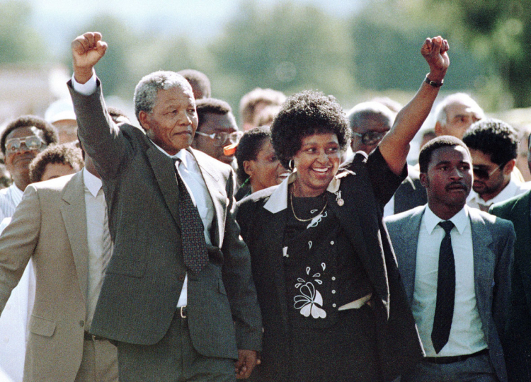 South Africa, Cape Town, Franschhoek, Victor Verster Prison. 1990. Nelson Mandela with Winnie as he walks to freedom.