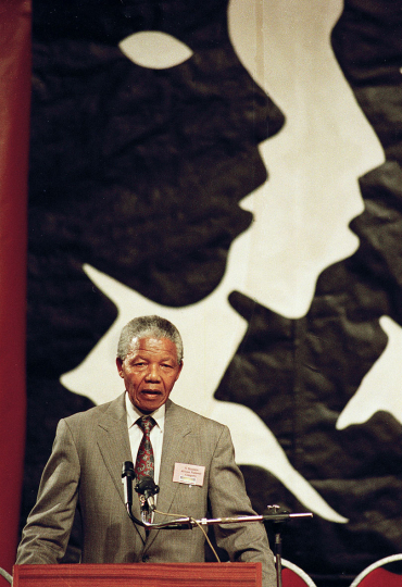 South Africa, Johannesburg. 1991. Nelson Mandela speaks at CODESA where much of South Africa's new Constitution was drafted.