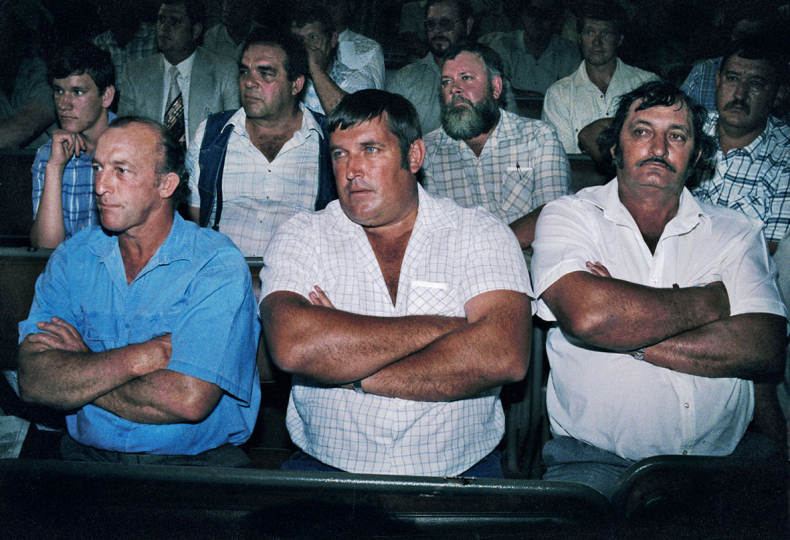 South Africa, Pretoria. 1991. Farmers meet in Pretoria to oppose the F W de Klerk goverment's movements toward democracy.
